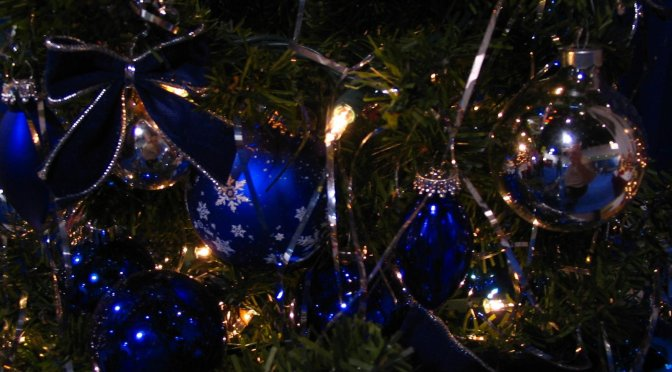 christmas decorations with blue glass ornaments