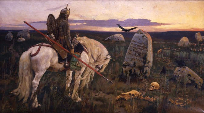 Sun set. A lonely knight on a white horse in front of a tomb stone with withered bones on the ground and a raven flying above.