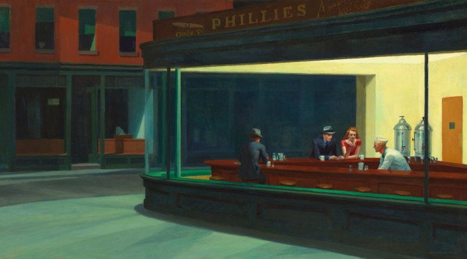 Nighthawks by Edward Hopper (1942), https://en.wikipedia.org/wiki/File:Nighthawks_by_Edward_Hopper_1942.jpg